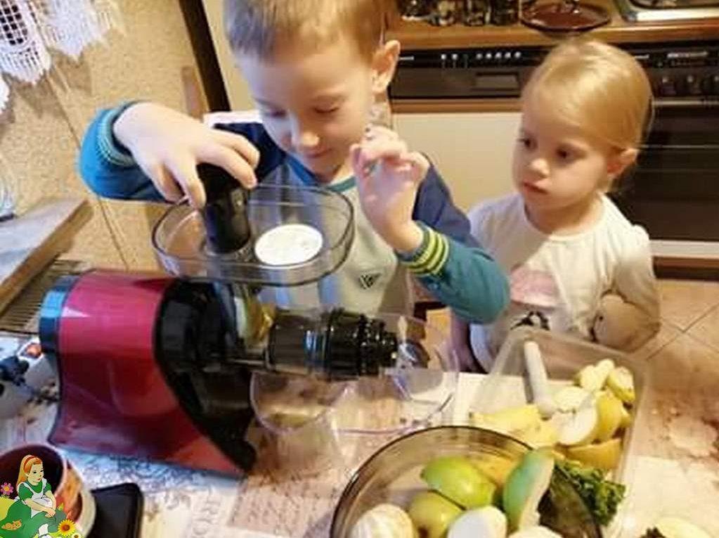 Dwoje dzieci robi koktajl owocowy