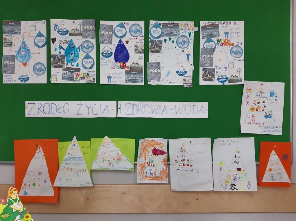 """Prace wykonane przez dzieci na tablicy w szatni. Napis """"Źrodło życia i zdrowia-woda"""""""