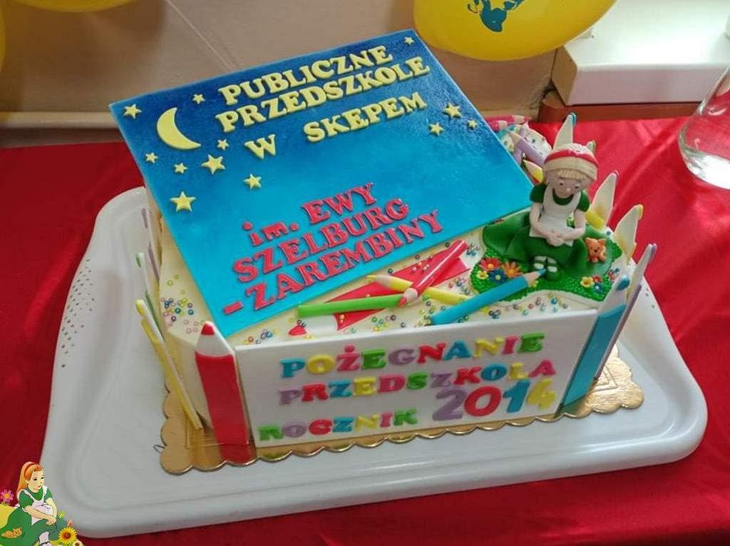 Tort z logo przedszkola oraz napisem: Pożegnanie 6-latków, rocznik 2014